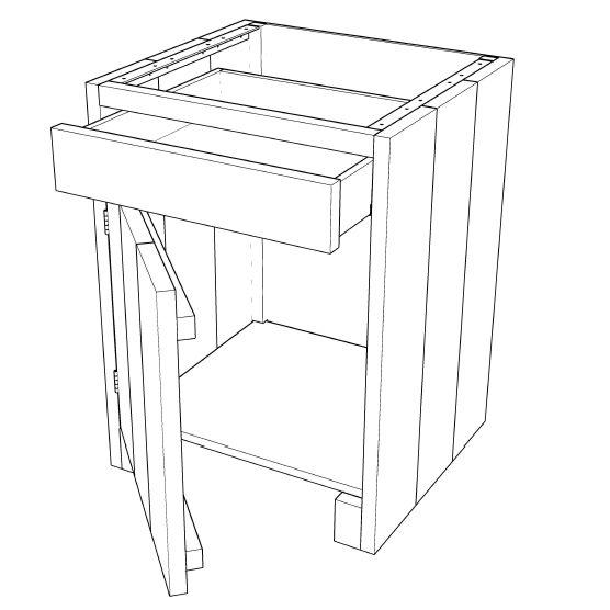 Buitenkeuken Maken : Buitenkeuken maken >> Kast met la en deur 001KE05