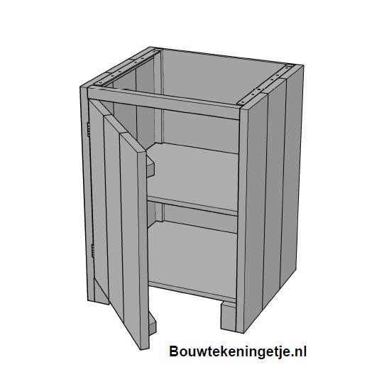 Buitenkeuken Maken : Buitenkeuken maken: Kast met deur model 001KE02